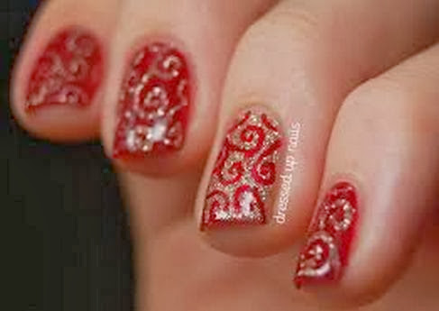 Red Colour Nail Art