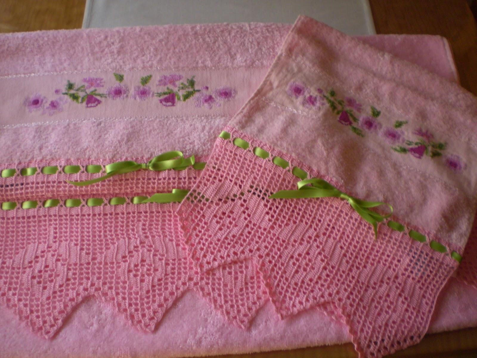 Cosas bonitas que se pueden hacer juego de toallas con - Hacer puntillas de ganchillo ...