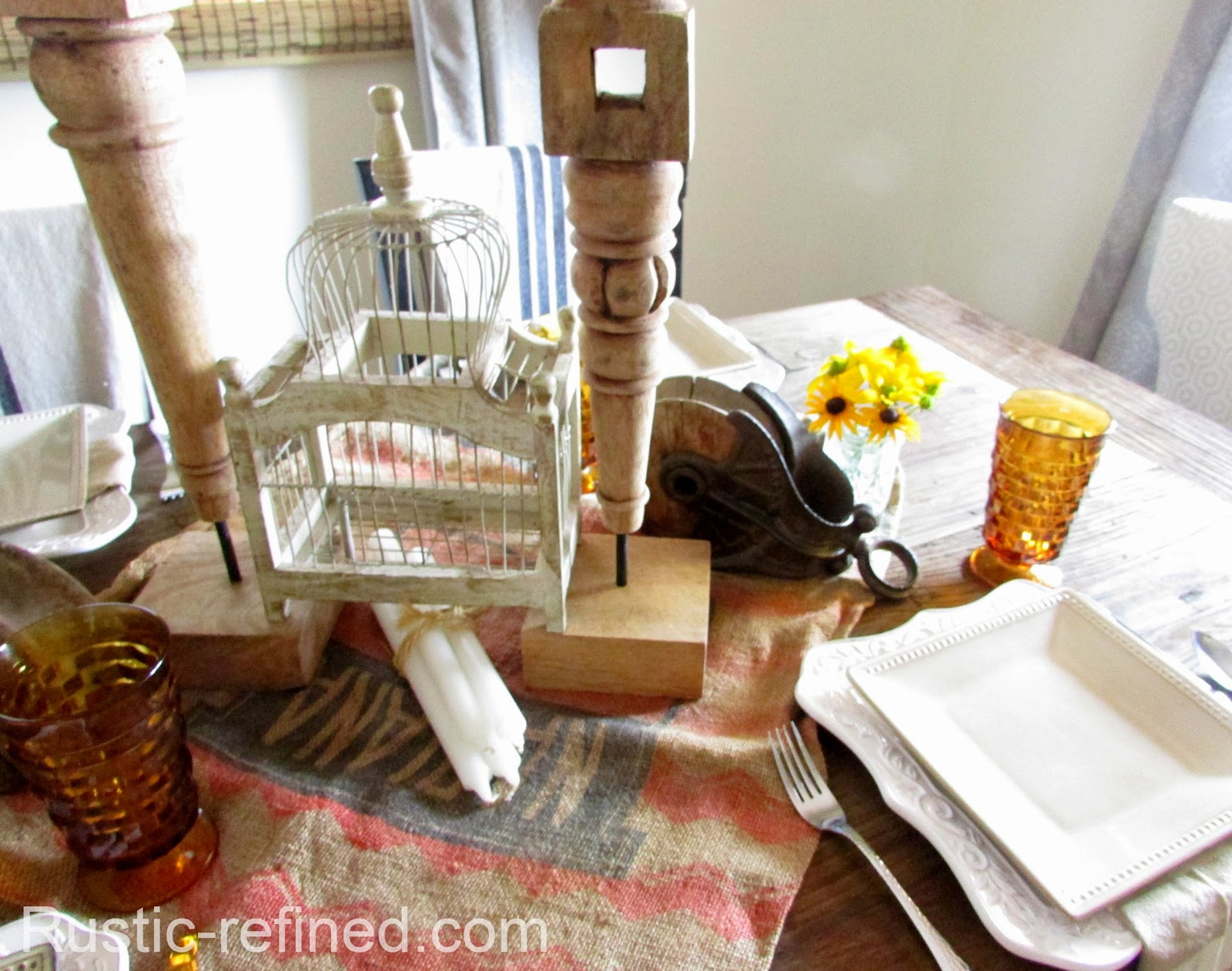 Beautiful Rustic and unusual Tablescape