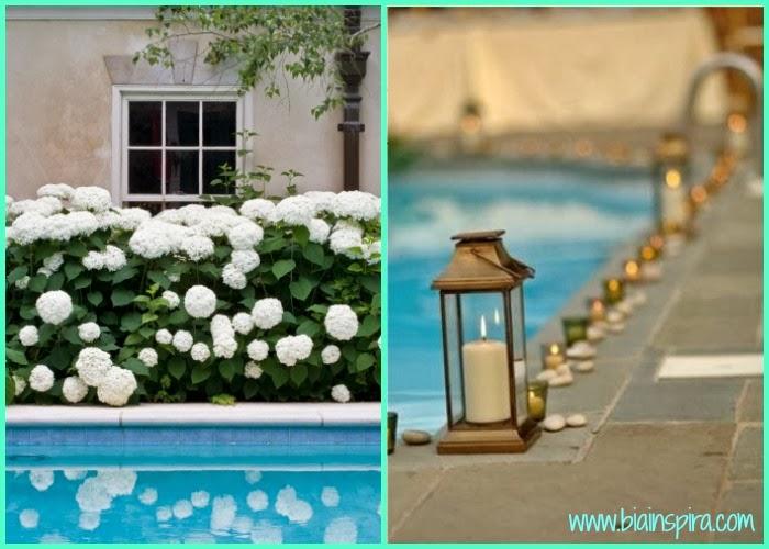 flores, velas e enfeites para decoração de ambiente externo, piscina. quintal