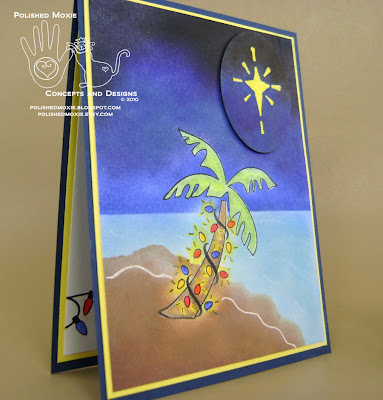Picture of my handmade palm tree Christmas card set at a right angle to show the dimensional element.