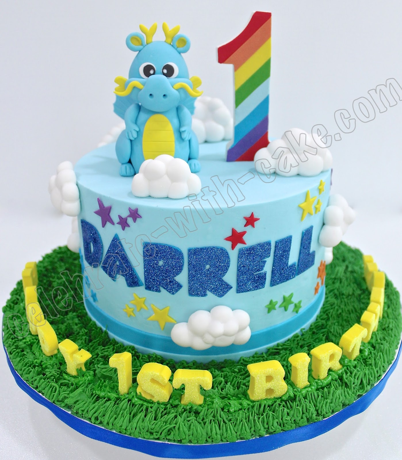 Celebrate With Cake 1st Birthday Baby Dragon Cake