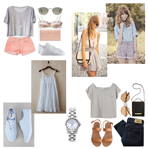 The perfect set of outfit items for a beach vacation.