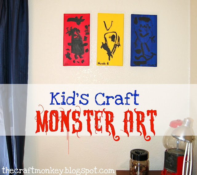 Kid's Monster Art on the wall