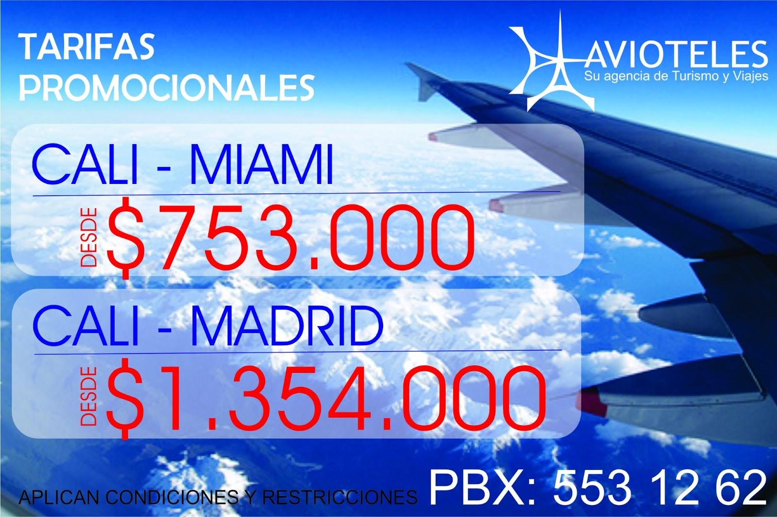 Avioteles su agencia de turismo y viajes desde cali a for Agencia turismo madrid