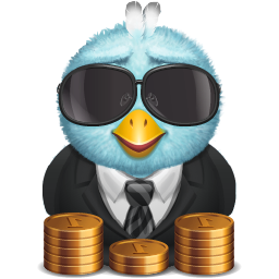 rich bird with piles of coins