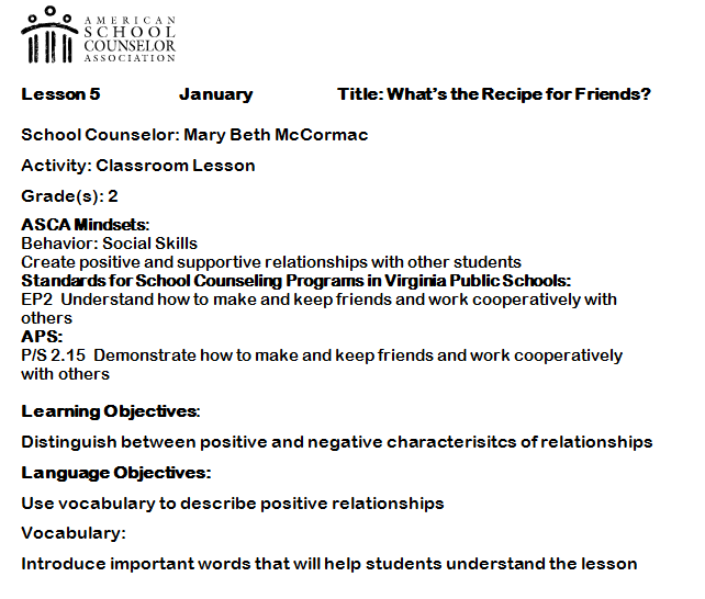 Elementary Counseling Blog Using Asca Mindsets In Lesson Plans