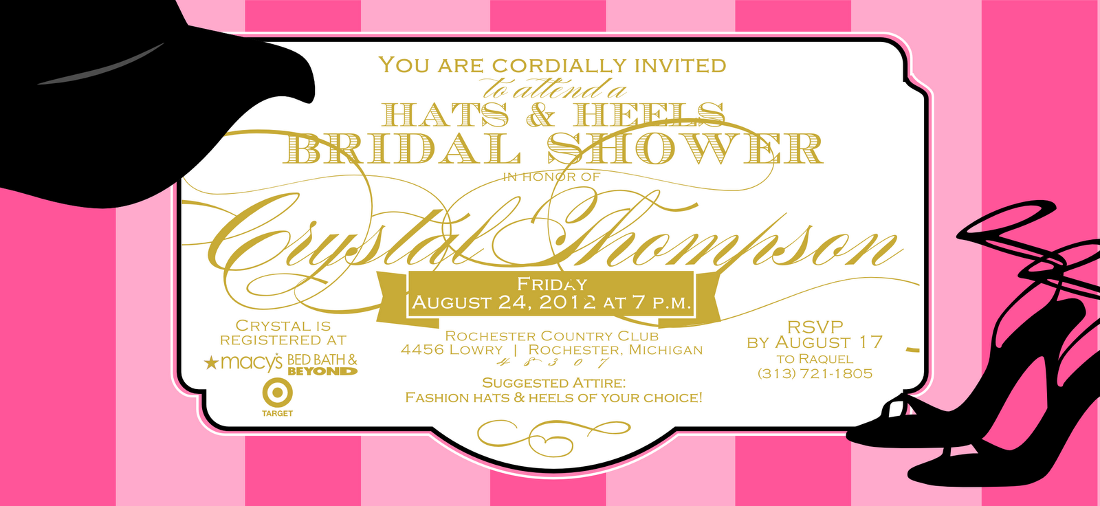 Bridal shower invite for Crystal