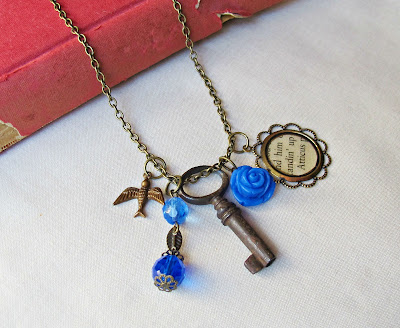 image atticus finch boho charm necklace blue ombre skeleton key vintage two cheeky monkeys to kill a mockingbird brass
