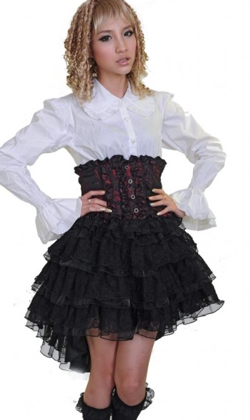 Black and Red Gothic Lolita Skirt for Women