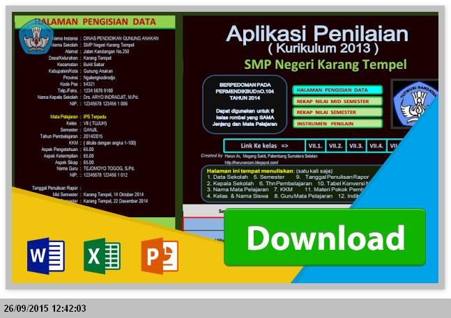 [.xlsx file] Aplikasi Penilaian dan Pengisian Rapot SMP/MTs Kurikulum 2013 dengan rumus Excel