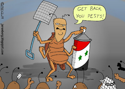 bashar assad as cockroach holding flyswatter and bug spray can surrounded by angry injured roaches bugs saying get back you pests