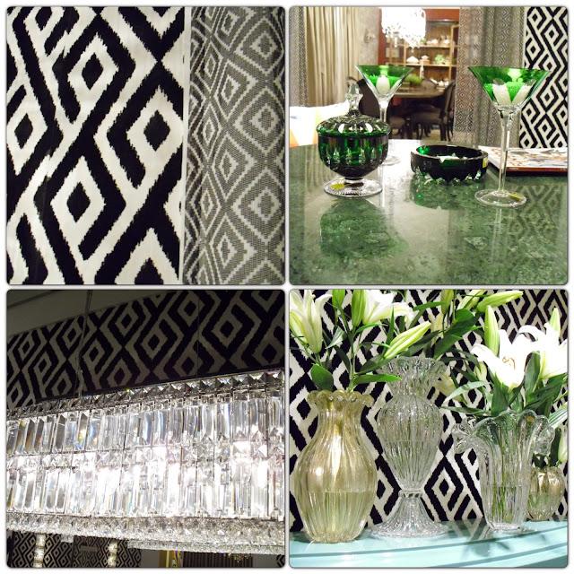 papel de parede, pendentes de cristal e peças de decoração - sala bar - Leonel Fernandes - Santos Arquidecor 2013
