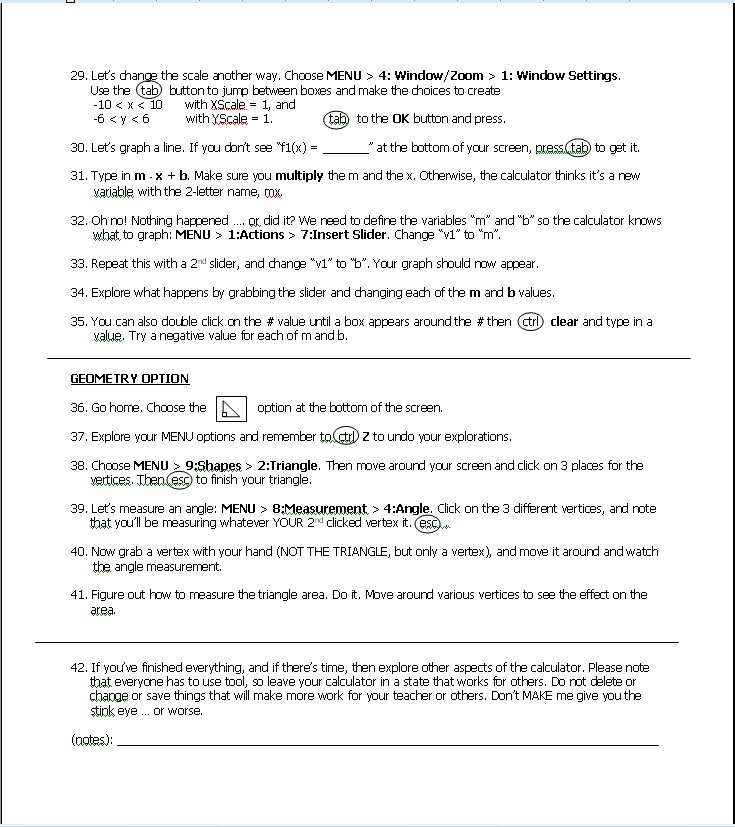 Math Teacher Mambo: TI-nspire Start Up Worksheet