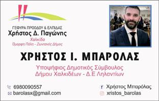 Χρήστος Μπαρόλας υποψήφιος δημοτικός σύμβουλος Δήμου Χαλκιδέων Δ.Ε. Ληλαντίων