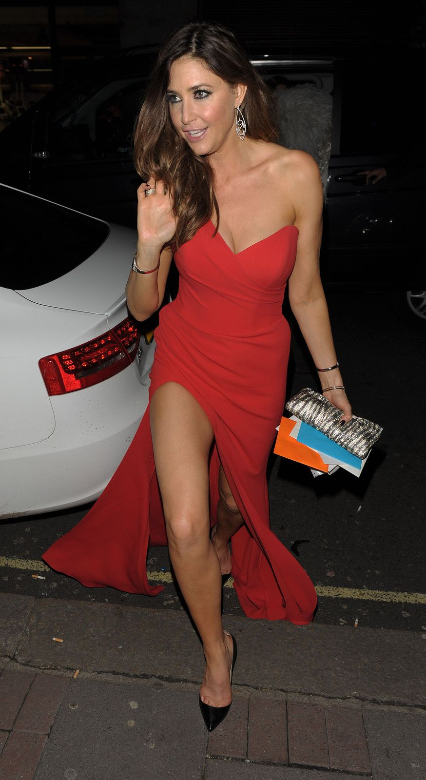 quotlisa snowdonquot luks fabulously leggy in red outfits