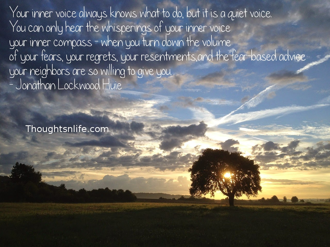 Thoughtsnlife.com: Your inner voice always knows what to do, but it is a quiet voice. You can only hear the whisperings of your inner voice - your inner compass - when you turn down the volume of your fears, your regrets, your resentments, and the fear-based advice your neighbors are so willing to give you. - Jonathan Lockwood Huie