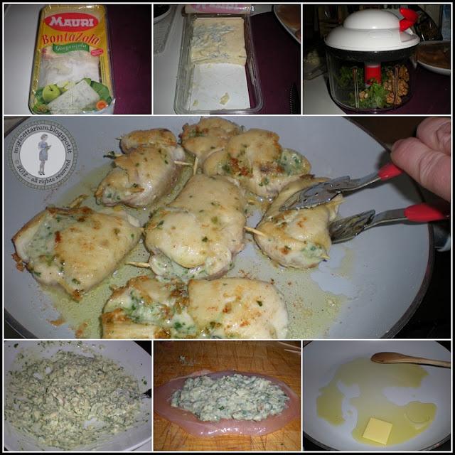 Involtini di pollo con crema di gorgonzola, rucola e noci