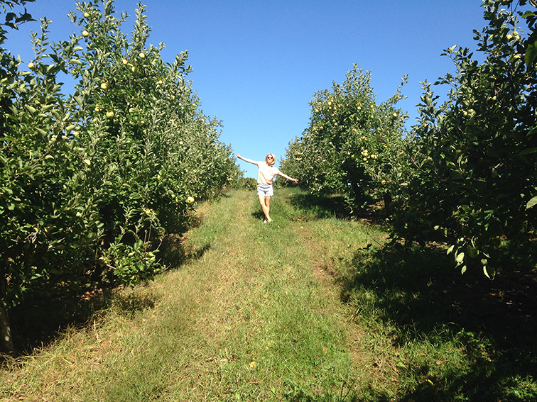 Hanging out in the apple orchard