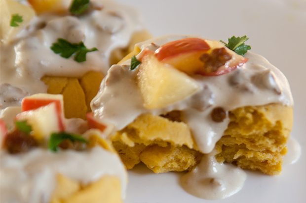 Sweet Potato Biscuits and Apple Sausage Gravy