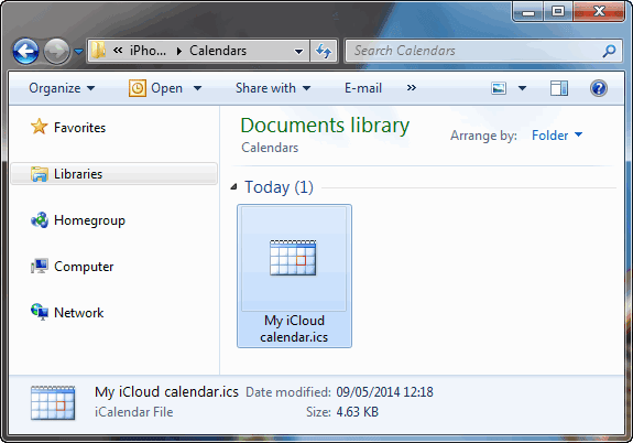 icalendar file in pc folder