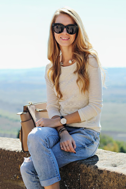boyfriend jeans & lace top, Celine Audrey sunglasses, Michael Kors Selma Satchel