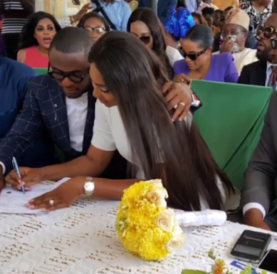 Lilian Esoro and Husband Ubi Franklin wed at Ikoyi Registry 7