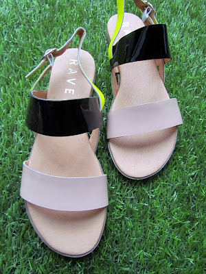 Nude and neon flat sandals