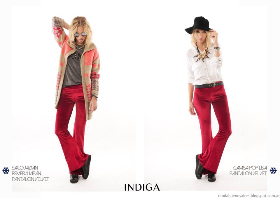 Sacos, pantalones y blusas de moda colección Indiga otoño invierno 2014.