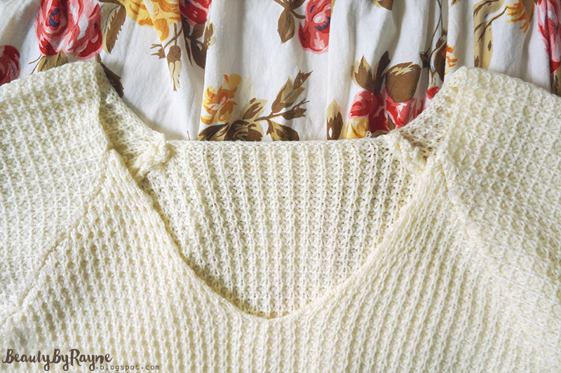V Neck Dip Hem Beige Sweater