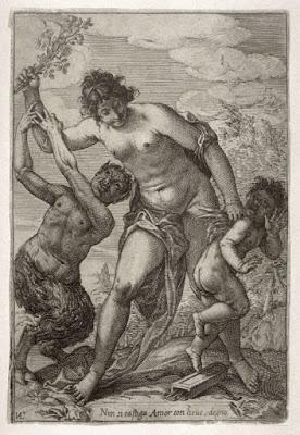venus castigando al amor profano, escena de flagelacion en un grabado de giovanni luigi valesio