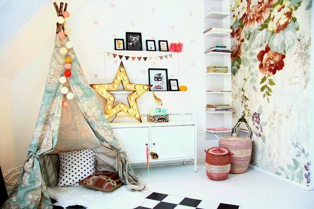 habitacion-mural-flores-estrella-tipi