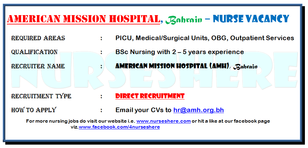 Direct Recruitment to American Mission Hospital, Bahrain, May 2015