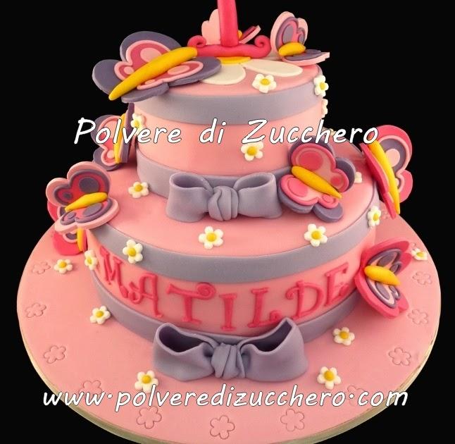 Torta con farfalle e fiocchi per una bimba polvere di for Decorazione torte e cupcake