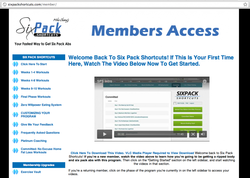 Six Pack Shortcuts Member Sign In