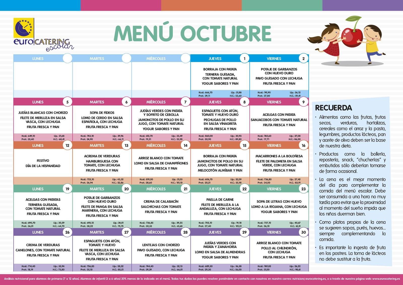 Menu octubre for Plan de comedor escolar