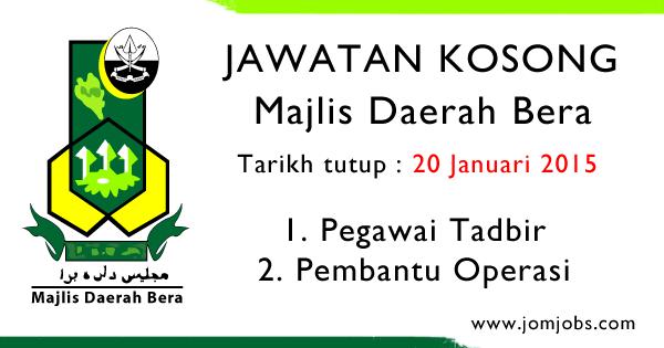Jawatan Kosong Kerajaan Majlis Daerah Bera Pahang 2015
