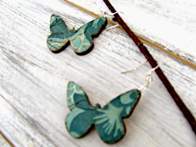 kolczyki motylki decoupage by Eco Manufaktura