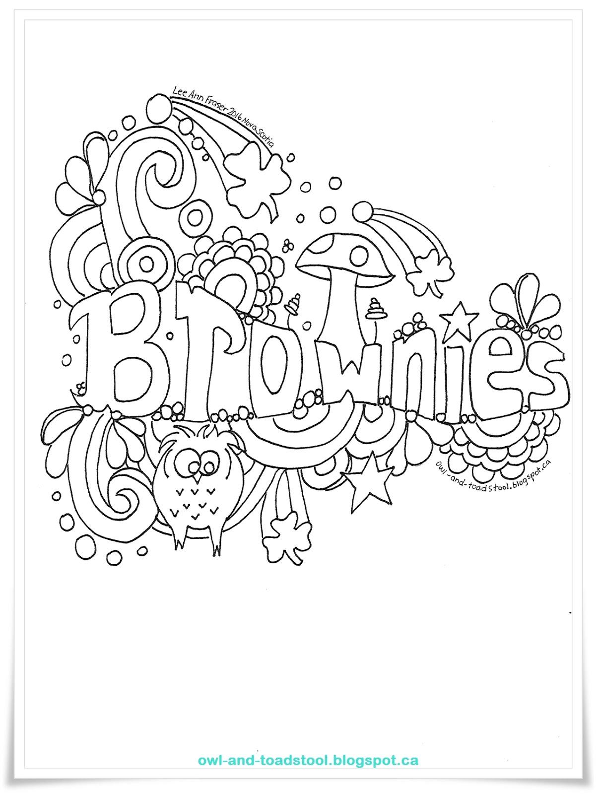 owl amp toadstool doodle  brownies