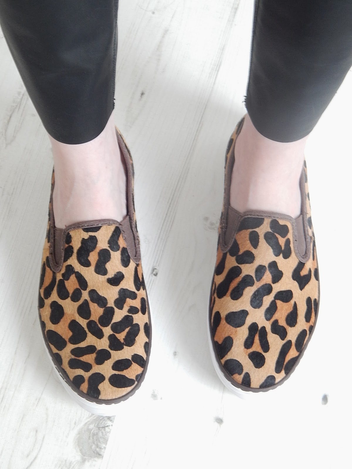 gap leopard print ponyskin slip on shoes