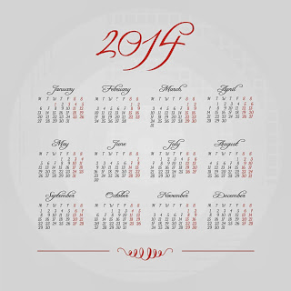 Simple elegant style Calendar 2014 red and white
