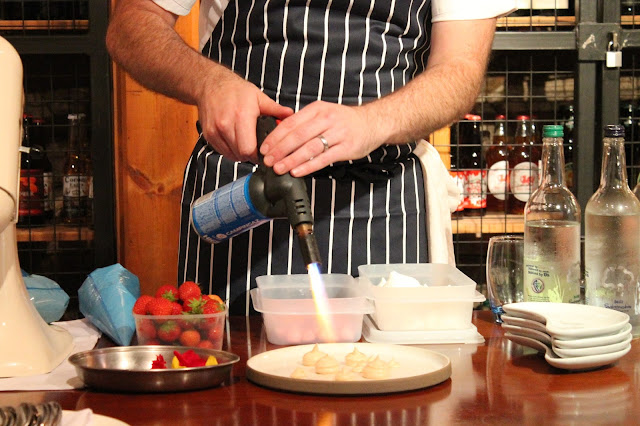 blowtorch to set meringues at Newbridge on Usk