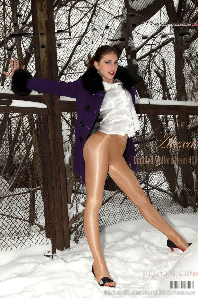 Girls in pantyhose in the snow