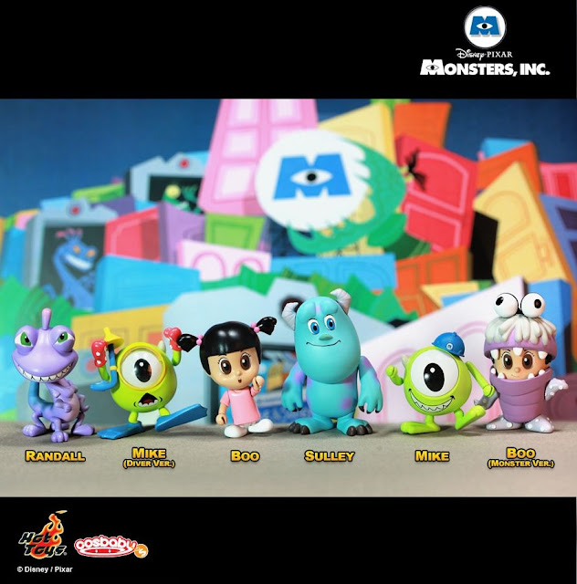 Monsters, Inc. Cosbaby Series by Hot Toys - Randall, Diver Mike, Boo, Sulley, Mike & Monster Boo Vinyl Figures