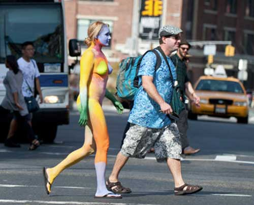 An artist arrested for applying body paint to a nude model in New York's ...