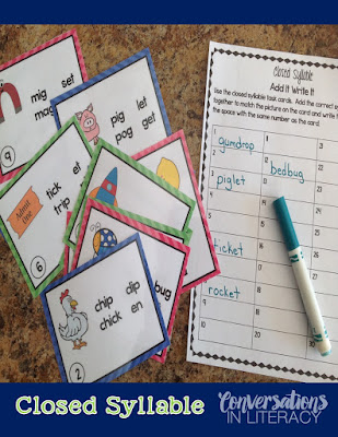 Closed Syllable Multisyllabic Word Activities