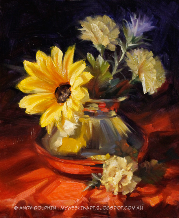 Brass vase and flowers still life oil painting by Andy Dolphin