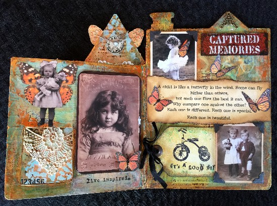 Altered mixed media children's book using DecoArt products. Final two pages.