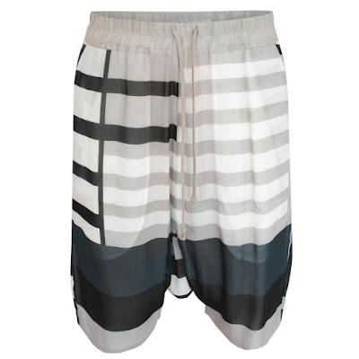 rick owens striped silk pod shorts