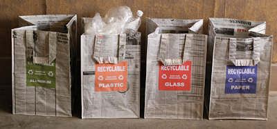 recycling bags made from old newspapers